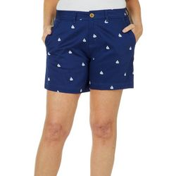 Caribbean Joe Petite Sailboat Print Shorts