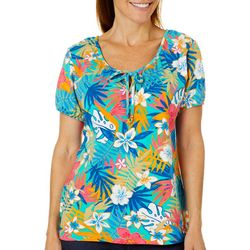 Caribbean Joe Petite Tropical Floral Tie Neck Top