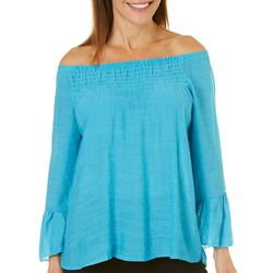 Caribbean Joe Petite Off The Shoulder Bell Sleeve Top