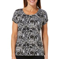 Caribbean Joe Petite Aloha Floral Split Shoulder Top