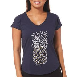 Caribbean Joe Petite Pineapple V-Neck Top