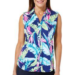 Caribbean Joe Petite Tropical Leaf Print Sleeveless Top