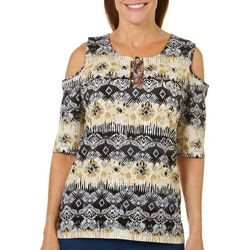 Caribbean Joe Petite Damask Lace Up Cold Shoulder Top