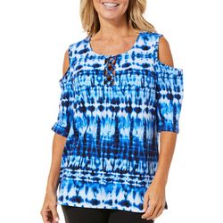 Caribbean Joe Petite Tie Dye Lace Up Cold Shoulder Top