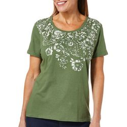 Caribbean Joe Petite Floral Paisley Screen Print Top