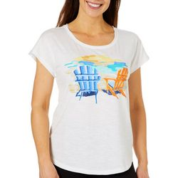 Caribbean Joe Petite Adirondack Chairs Short Sleeve Top