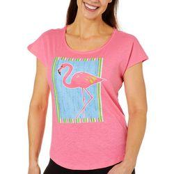 Caribbean Joe Petite Flamingo Screen Print Top