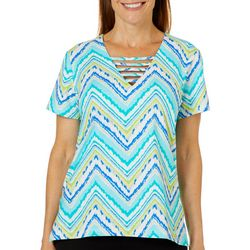 Caribbean Joe Petite Chevron Printed Bar Neck Top