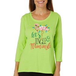Caribbean Joe Petite Jingle & Flamingle Holiday Top