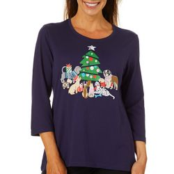 Caribbean Joe Petite Holiday Dog Screen Print Top