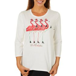 Caribbean Joe Petite Holiday Flamingo Flockettes Top