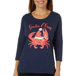 Caribbean Joe Petite Holiday Crab Santa Top
