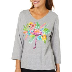 Caribbean Joe Petite Tropical Flamingo Top