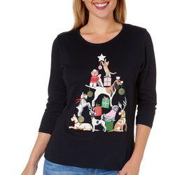 SunBay Womens Petite Animal Christmas Round Neck Top