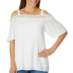 Hailey Lyn Petite Solid Eyelash Cold Shoulder Top