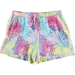 Hailey Lyn Petite Rainbow Palm Frond Gauze Shorts