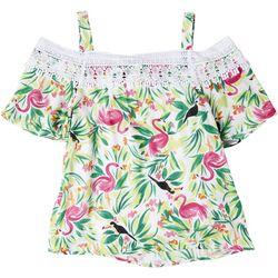 Hailey Lyn Petite Toucans & Flamingos Top