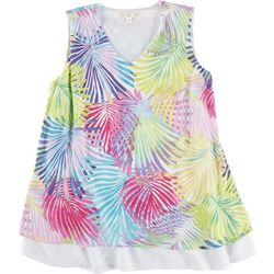 Hailey Lyn Petite Rainbow Fronds Layered Sleeveless Top