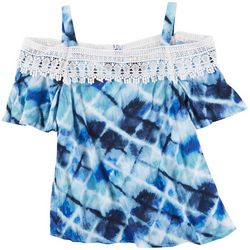 Hailey Lyn Womens Tye Dye Off The Shoulder Top