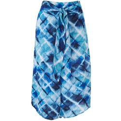 Hailey Lyn Petite Front Tie Midi Tye Dye Pants