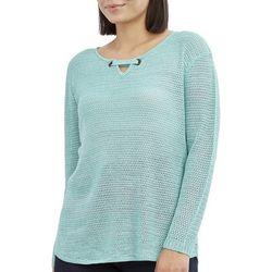 Caribbean Joe Petite Solid Keyhole Neck Beach Sweater