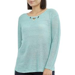 Petite Solid Keyhole Neck Beach Sweater