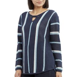 Caribbean Joe Petite Striped Keyhole Neck Beach Sweater