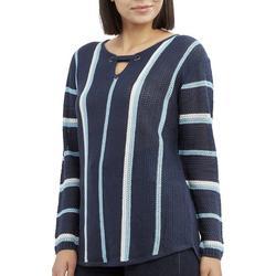 Petite Striped Keyhole Neck Beach Sweater