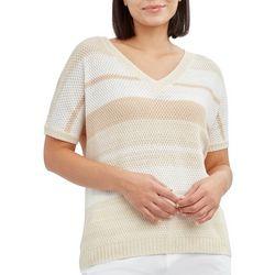 Caribbean Joe Petite Striped Short Sleeve Sweater