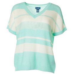 Caribbean Joe Petite Striped Short Sleeve Sweater