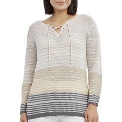 Caribbean Joe Petite Striped Lace Up Sweater