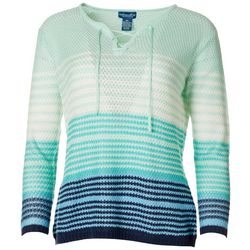 Caribbean Joe Petite Ombre Lace Up Sweater