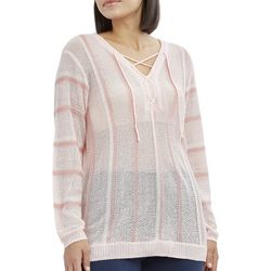 Caribbean Joe Petite Striped Lace Up Sweater