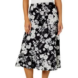Notations Petite Floral Print Tiered Pull On Skirt
