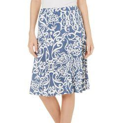 Sami & Jo Petite Puff Print Scroll Print A-Line Skirt