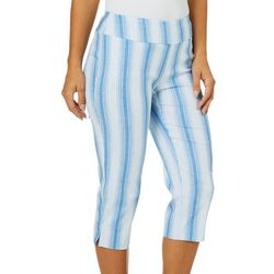 Zac & Rachel Petite Striped Pull On Ankle Pants
