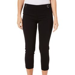 Zac & Rachel Petite Solid Pull On Grommet Crop Pants