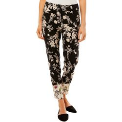 Prosecco Petite Floral Print Slim Ankle Pants