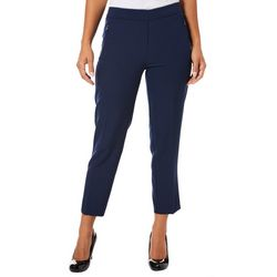 Zac & Rachel Petite Solid Zip Pocket Bond Ankle Pants