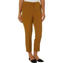 Zac & Rachel Petite Solid Ruffle Detail Slim Ankle Pants