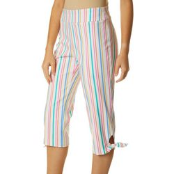 Counterparts Petite Stripe Print Pull On Tie Hem Capris