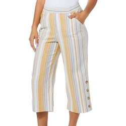 Counterparts Womens Lined Striped Button Hem Capris