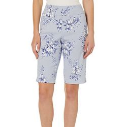 Counterparts Petite Floral Striped Pull On Bermuda Shorts