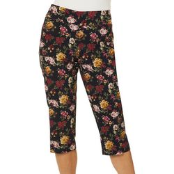 Counterparts Petite Floral Rose Print Pull On Capris
