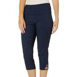 Counterparts Petite Solid Pull On Rivet Hem Capris