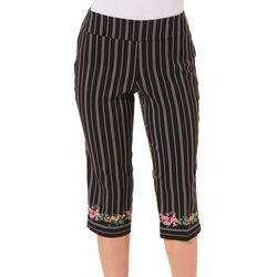 Counterparts Petite Striped Floral Border Capris