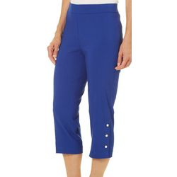 Counterparts Petite Pull-On Pearl Button Hem Capris
