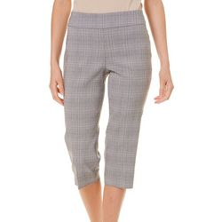 Counterparts Petite Plaid Print Pull-On Stretch Capris