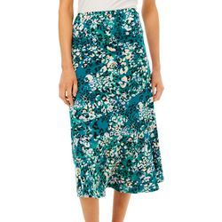 NY Collection Womens Mixed Print Midi A-Line Skirt