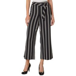 NY Collection Petite Striped O-Belt Pull On Pants